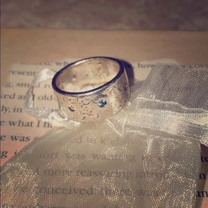 Peace's of Indigo stamped silver ring size 6.25